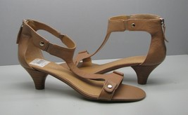 "Nine West SHOES Womans 10 M Tan Leather FANCY Zips Ankle Strap 2 1/4"" Heel - $15.83"