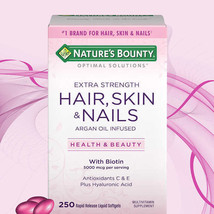 Nature's Bounty Hair Skin and Nails 250 Softgels Multivitamin 5000 mcg Biotin - $21.28