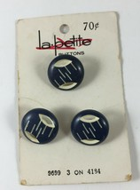 Vintage Buttons - La-Petite (By Lansing) 9699 - 3 on Card 4184 Blue & Wh... - $3.95