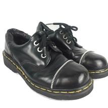 Rare Vtg Dr Martens Men-7 Women-8 Black Leather Shoes 3 Eye Lace Up Zipper Toe - $140.00