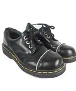 Rare Vtg Dr Martens Men-7 Women-8 Black Leather Shoes 3 Eye Lace Up Zipp... - $140.00