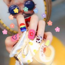 24 Pcs Rainbow Fake Nail Sticker Fashion Finished Nail Patch Nail Art - $5.91