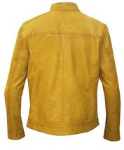 Dirk Gently Holistic Detective Agency Samuel Barnett Yellow Biker Leather Jacket image 3