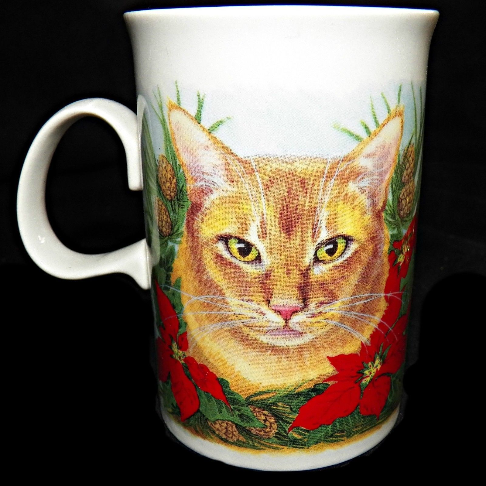 Dunoon Scotland Poinsettia Christmas Ginger Tortie Kitty Cats Coffee Tea Mug Cup