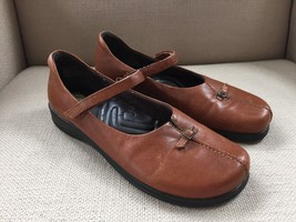 EARTH SHOES VIVIAN COGNAC BROWN LEATHER MARY JANE COMFORT SHOES SIZE 9 E... - $27.76