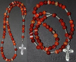 Hand Made Catholic Rosary Rosenkranz Chapelet Red Banded Agate & Sterlin... - $113.85