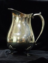 """Vintage Leonard Silver Plate Footed Water Pitcher With Ice Lip 9"""" Tall - $24.75"""
