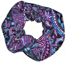 Black Paisley Teal Pink Purple Peachskin Hair Scrunchie Scrunchies by Sherry  - $6.99