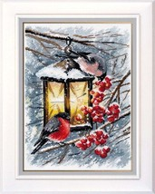 Cross Stitch Kit Hand Embroidery Winter Animals Birds - $32.00