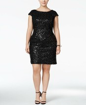 Adrianna Papell Sequined Lace Shift Dress Black Plus Size 18W - $94.99