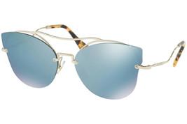 NEW MIU MIU SCENIQUE Butterfly Blue Silver Mirrore Oversized Sunglasses ... - $176.42