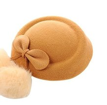 Wool Fedora Hat Small Hat Hairpin Side Clip Hair Accessories, Light Brown Cravat
