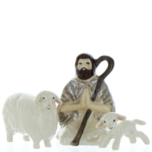 Hagen Renaker Nativity Shepherd Lamb & Sheep Ceramic Figurine Set