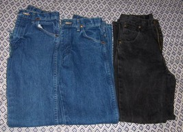 3 Pair Boys 14 Slim Wrangler Jeans With Adjustable Waist - $29.99