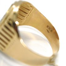 18K YELLOW WHITE ROSE GOLD BAND MAN RING, OVAL, SATIN, FRAME, MADE IN ITALY image 4