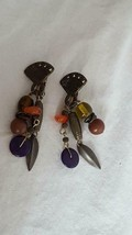 "VINTAGE HALLMARKED BRASS BOHO 3 STRAND 1.5"" DANGLE CLIP ON EARRINGS, AZTEC, - $4.94"