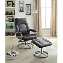 Recliner and Ottoman Set Black Living Room Vinyl Swivel Furniture Chair ... - $122.90