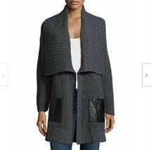 NWT Michael Kors $295 Leather Pockets Shawl Collar Cardigan Sweater Coat M / L  - $83.79