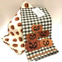 Halloween Kitchen Cup Towels Jack O Lantern 2 set Spooky Holiday Home De... - £12.35 GBP