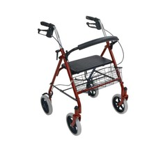 4-Wheel Rollator Walker with Fold Up Removable Back Support, Red - $69.80