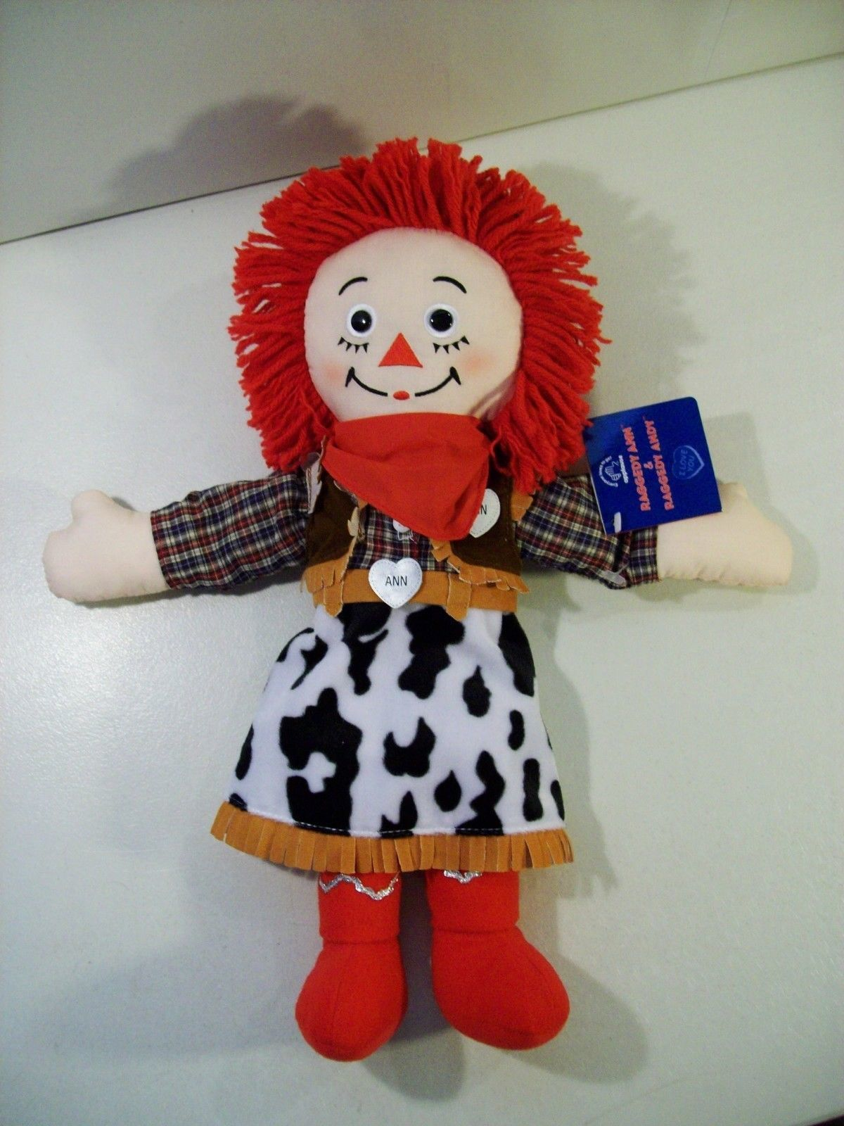 "RAGGEDY ANN COWGIRL 15"" RAGDOLL APPLAUSE, WESTERN DOLL WITH TAG"
