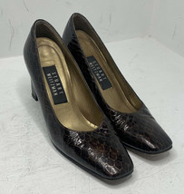Stuart Weitzman Brown Snake Embossed Patent Leather Square Toe Pumps siz... - $26.63