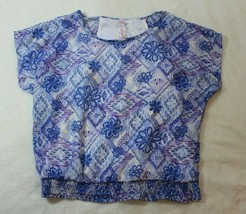 Justice Girls Top Size 12 Blue Purple Cold Shoulder Blouse Spring Summer - $19.79