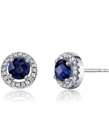 14k White Gold Round Blue Sapphire and White Topaz Halo Earrings - $399.99