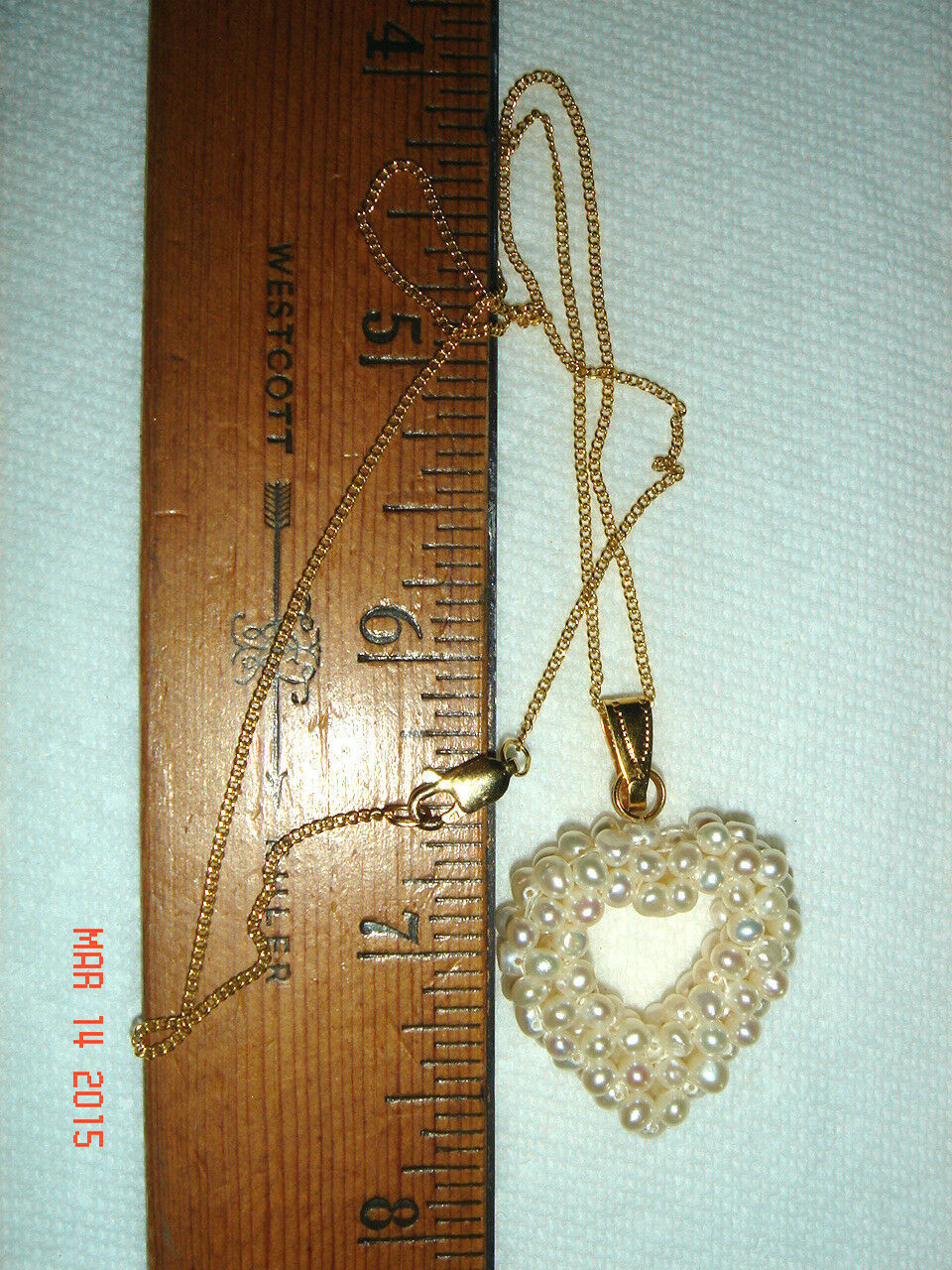 "VTG 14k 1/20th YELLOW GOLD FILLED FAUX SEED PEARL HEART PENDANT 16"" NECKLACE"