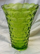 Vintage Mid Century Green Yorktown Thumbprint Pattern Federal Glass Vase - $15.00