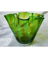 Gorgeous Designs Blown Glass Handkerchief Vase Ruffled Rim Green Yellow ... - $37.00