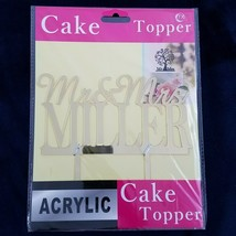Cake Topper Mr. & Mrs. Miller ACRYLIC gold Birthday Wedding anniversary ... - $9.90