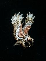 Flying Eagle Pendant Tricolor Metal Diamond Cut - $4.94
