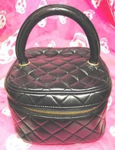 Auth CHANEL Vanity Vintage Black Leather Logo Quilted Zipper Mini Pouch ... - $483.12