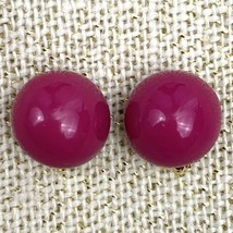 Liz Claiborne Round Pink Plastic Clip On Earrings Chunky Fuchsia Vintage... - $9.84