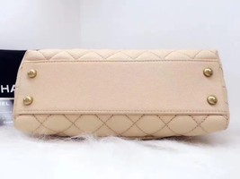 100% AUTHENTIC CHANEL 2017 CAVIAR QUILTED MINI COCO HANDLE FLAP BAG BEIGE GHW image 8