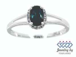 Zafiro Azul Ovalado Gema 14K Oro Blanco 0.58CT Real Natural Halo Diamant... - $877.52