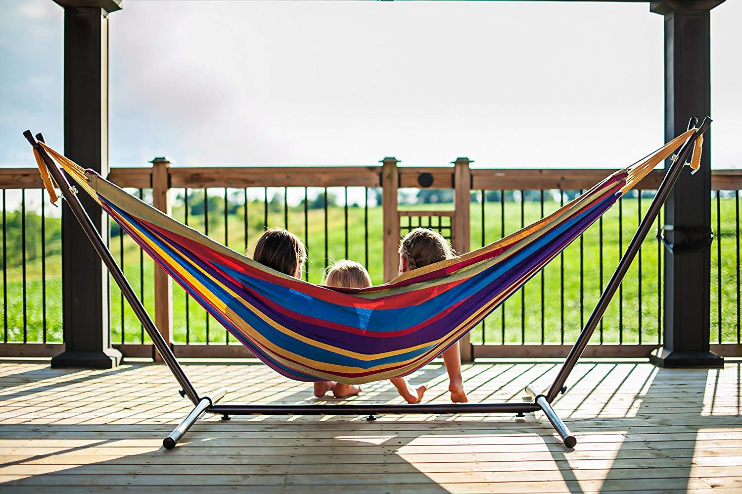 Double Hammock with Space-Saving Steel Stand by Vivere, Tropical