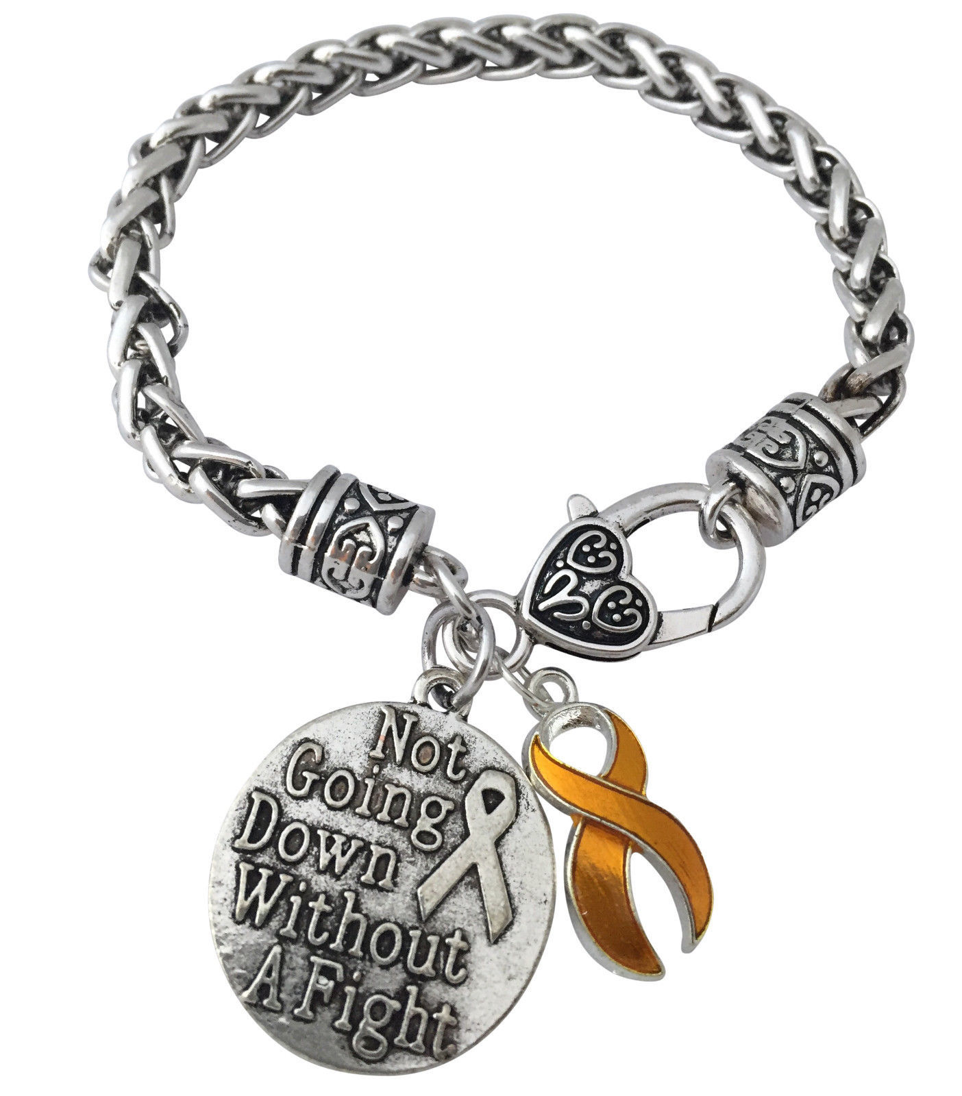 Yellow Cancer Ribbon Not Going Down Without A Fight Silver Charm Bracelet