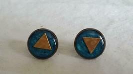 "Unique Southwest Turquoise Enamel .5"" Round Button Stud Earrings,Triangle Design - $4.94"