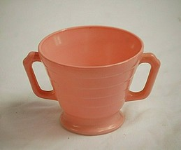 "Moderntone Platonite Pastel Pink by Hazel-Atlas 3"" Footed Sugar Bowl Mil... - $14.84"