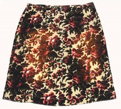 OILILY Vintage Look Floral Corduroy Skirt Brown Coral Back Pockets Wms 3... - $28.99