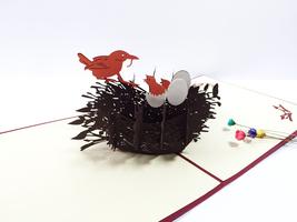 Bird's Nest--3D Greeting Card, Pop Up Card, Pop Out Card - $5.60