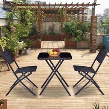 Square Table And Chair Suit Outdoor Patio Garden Yard Pool 3 Pieces Set ... - $105.46