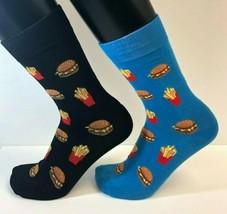 2 PAIRS Foozys Men's Socks BURGER & FRIES, Black, Blue, New Ships Free - $8.99