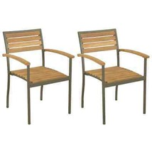 vidaXL 2x Solid Acacia Wood Stackable Outdoor Chairs Patio Seat Furniture - $90.99