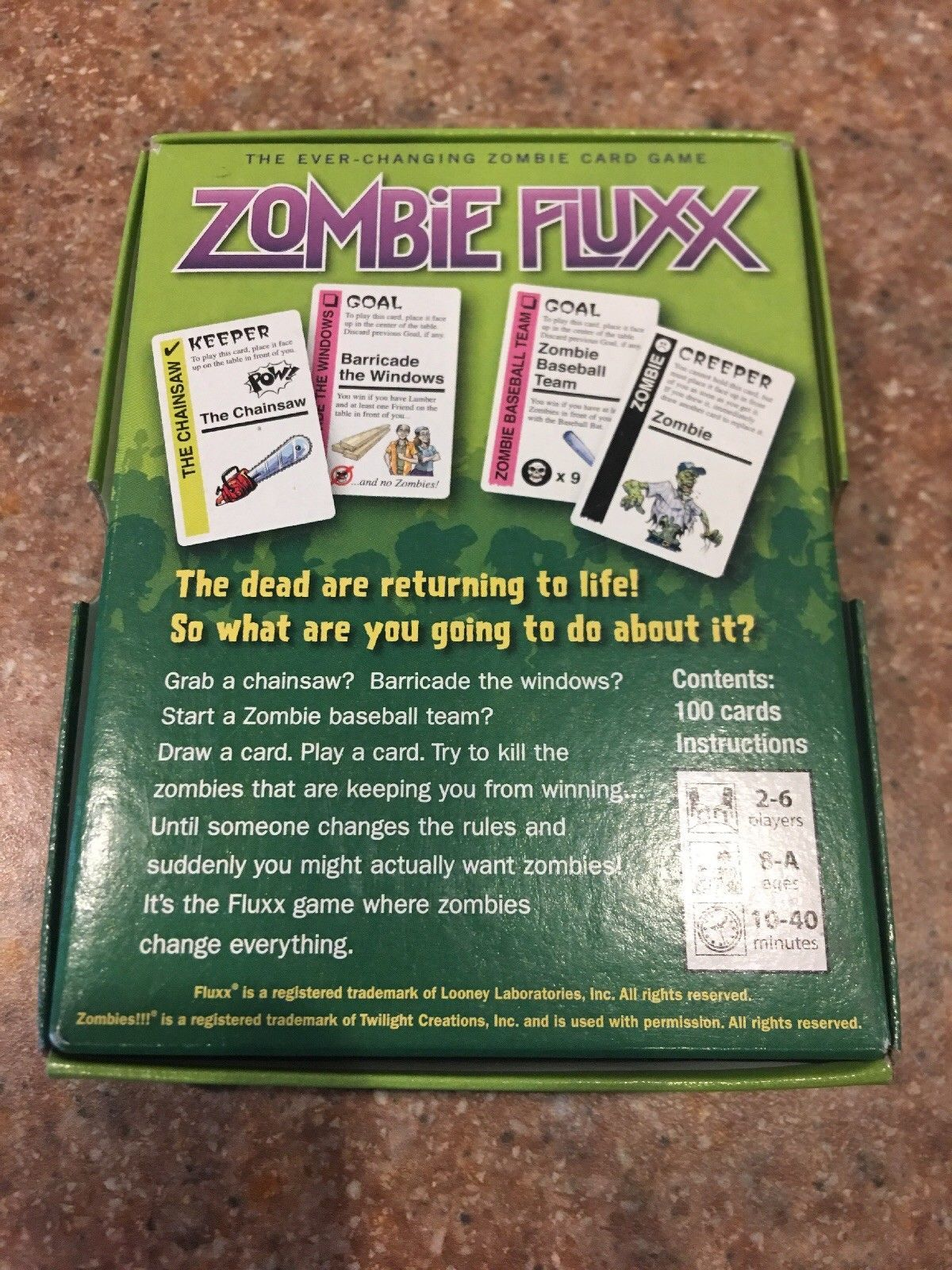 Zombie Fluxx Card Game Version 1.0 Looney Labs Sealed Travel Kids Ages 8 +