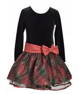 Bonnie Jean Black Velvet Christmas Dress Red Tartan Plaid Long Sleeve Sz 14 NWT - £17.27 GBP