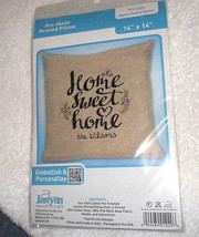 "Janlynn 'Home Sweet Home' Stamped Stitch Pre-Made Pillow Craft Kit 14"" X... - $5.69"