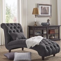 Living Room Lounge Chair Grey Linen Button Tufted Sofa Bedroom Chaise Re... - $689.06